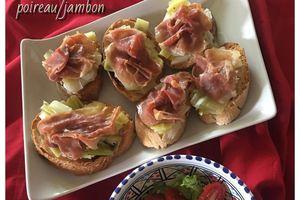 Tartines poireau & jambon