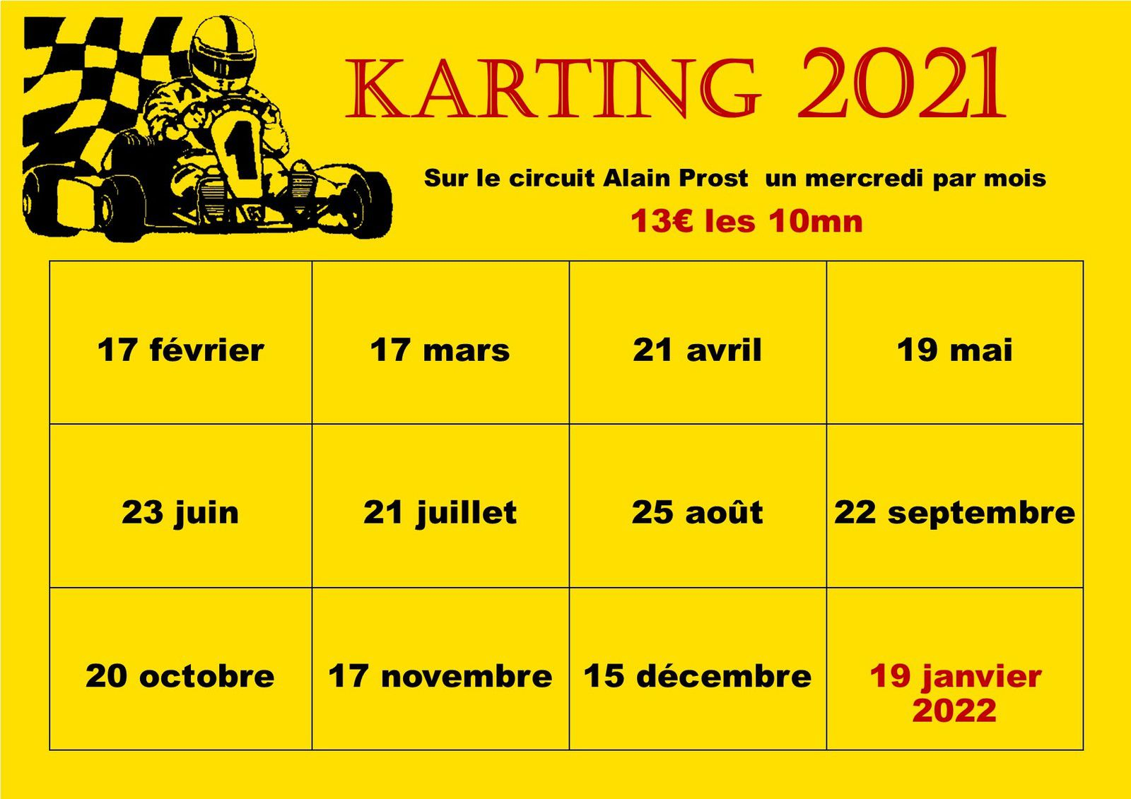 Calendrier Karting 2021