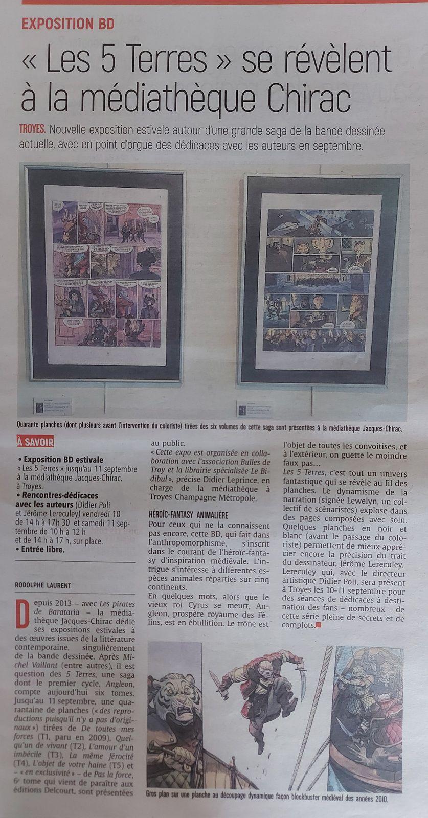 """Article Est-eclair sur l'exposition """"5 Terres """""""