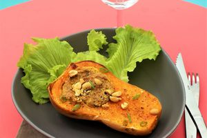 Butternuts farcies Arachides, Coco, Curry