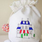 Drawstring Bag with Illustrated Fabric ~
