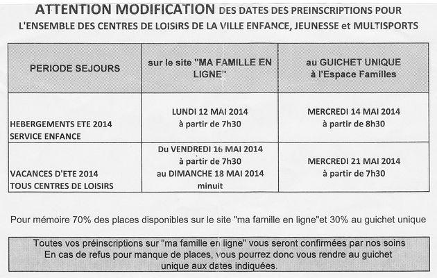 Modification des dates d'incription aux centres de loisirs