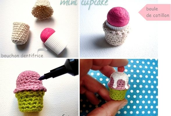 DIY mini cupcake en crochet