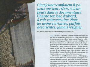 Photos et articles extraits du magazine Télérama du 15 octobre 2014