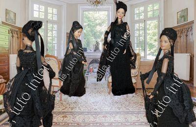 tuto gratuit Barbie  : petite robe à tournure au château
