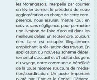 Tribune du groupe Passion Morangis de septembre 2019