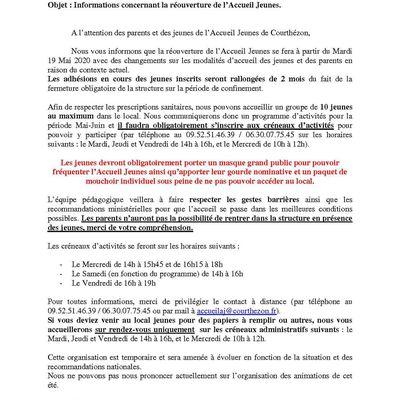 Réouverture Accueil Jeunes Courthézon 2020