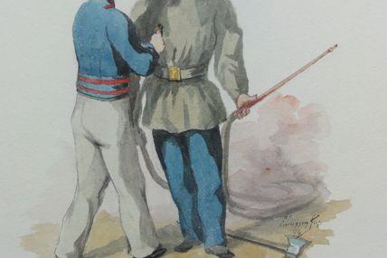 aquarelle pompiers en tenue de feu et blouse Paulin