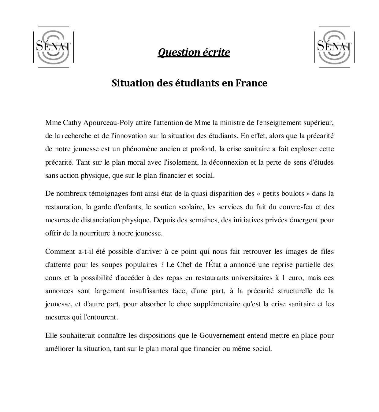 Question écrite de Cathy Apourceau-Poly sur la situation des étudiants en France