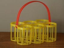 Panier à verre en plastique jaune Années 70 - Vintage