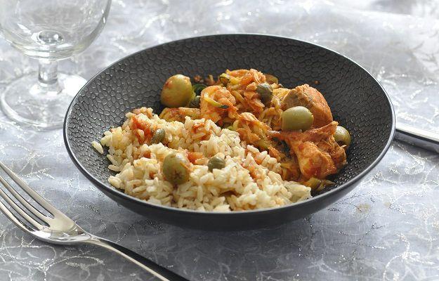 Saumon sauce tomate aux olives vertes