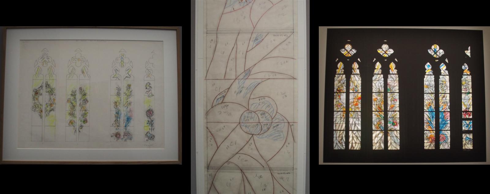 Cathédrale de Metz : bêtes, fleurs et oiseaux, couronnes de fleurs, maquette pour le vitrail oriental du triforium, 1967-68. Crayon noir, pastels, encre de chine sur papier.