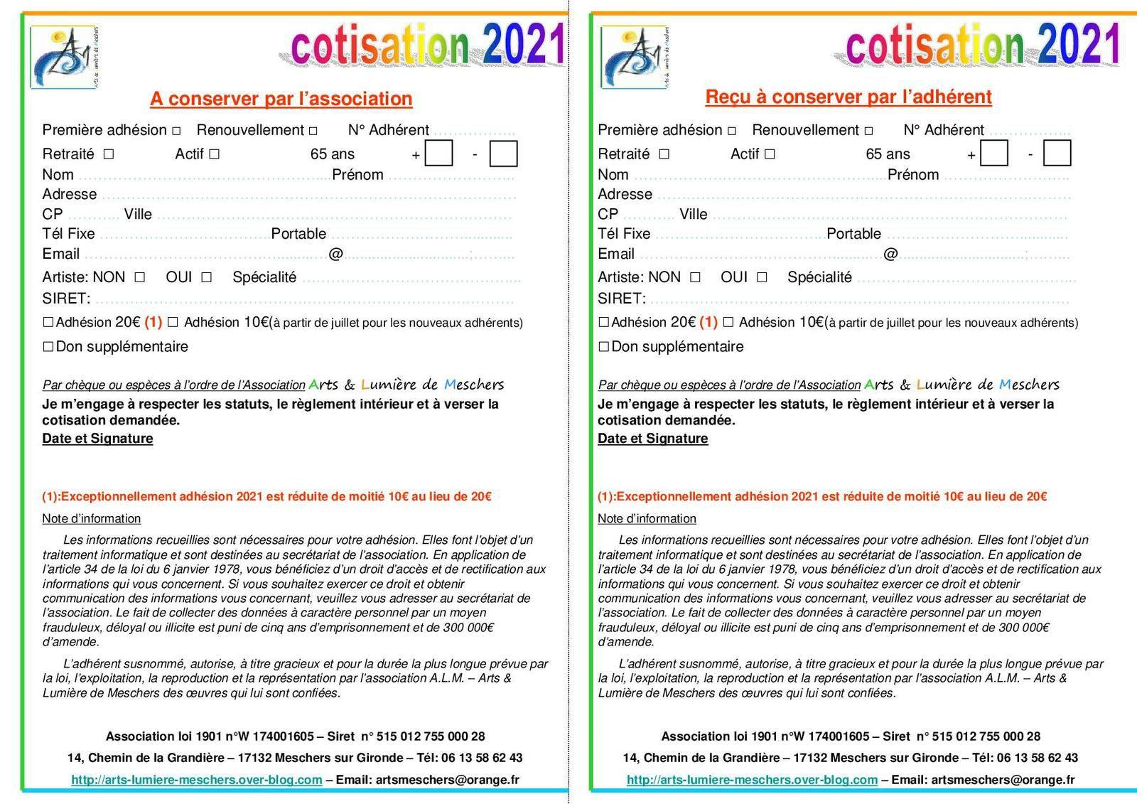2021 - Bulletin d'adhésion