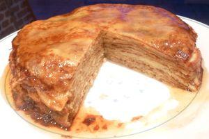 gâteau de crêpes aux pommes,sucre vergeoise