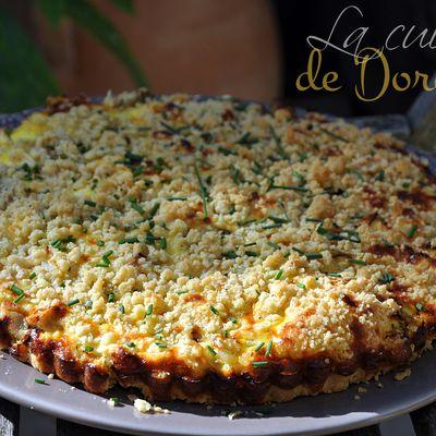 Quiche crumble au filet mignon au Roquefort, fêta et ciboulette
