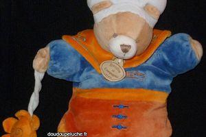 Doudou peluche ours marionnette bleu orange Indidous Doudou et Compagnie