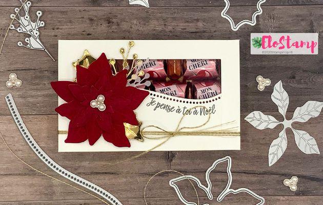 Live Facebook : boîte à chocolats poinsettia en velours