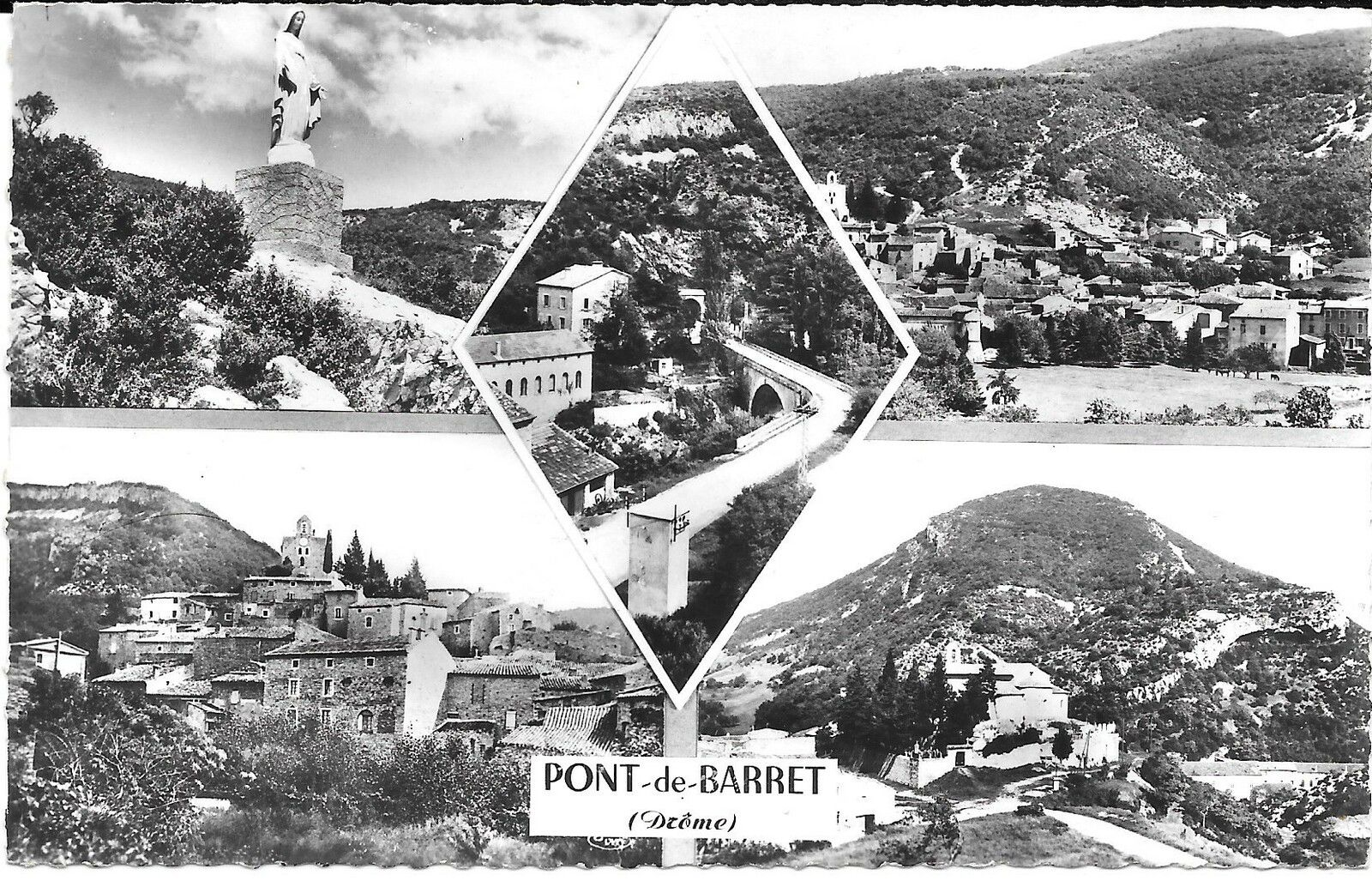Carte postale oblitérée dans les années 1960.