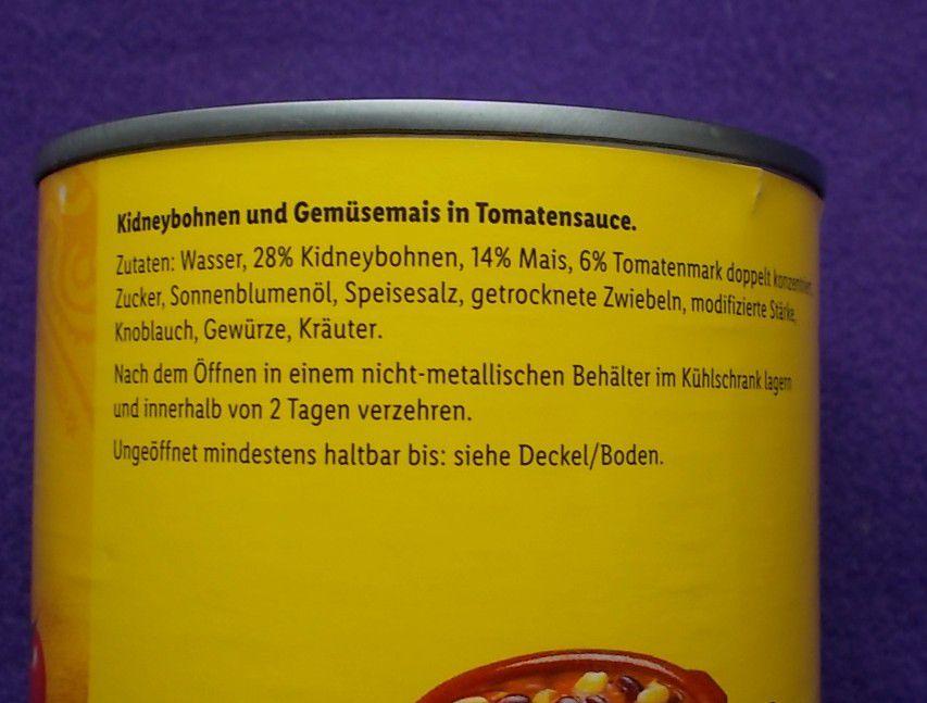 Lidl El Tequito Kidneybohnen & Mais in Tomatensauce