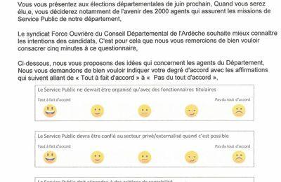 Questionnaire élections départementales