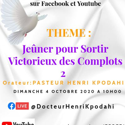 CULTE DU 4 OCTOBRE 2020 EN DIRECT A PARTIR DE 10 H 00 SUR YOUTUBE ET FACEBOOK