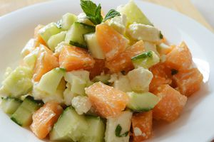 Salade de melon, concombre, fêta et menthe