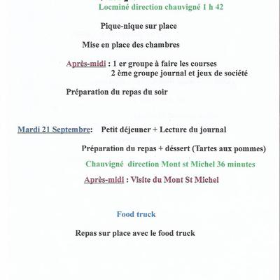 Programme du séjour vacances