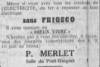 Juin 1934, l'électricité ménagère en promotion à Moulins