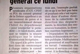Appel à la grève au Conseil général de la Drôme