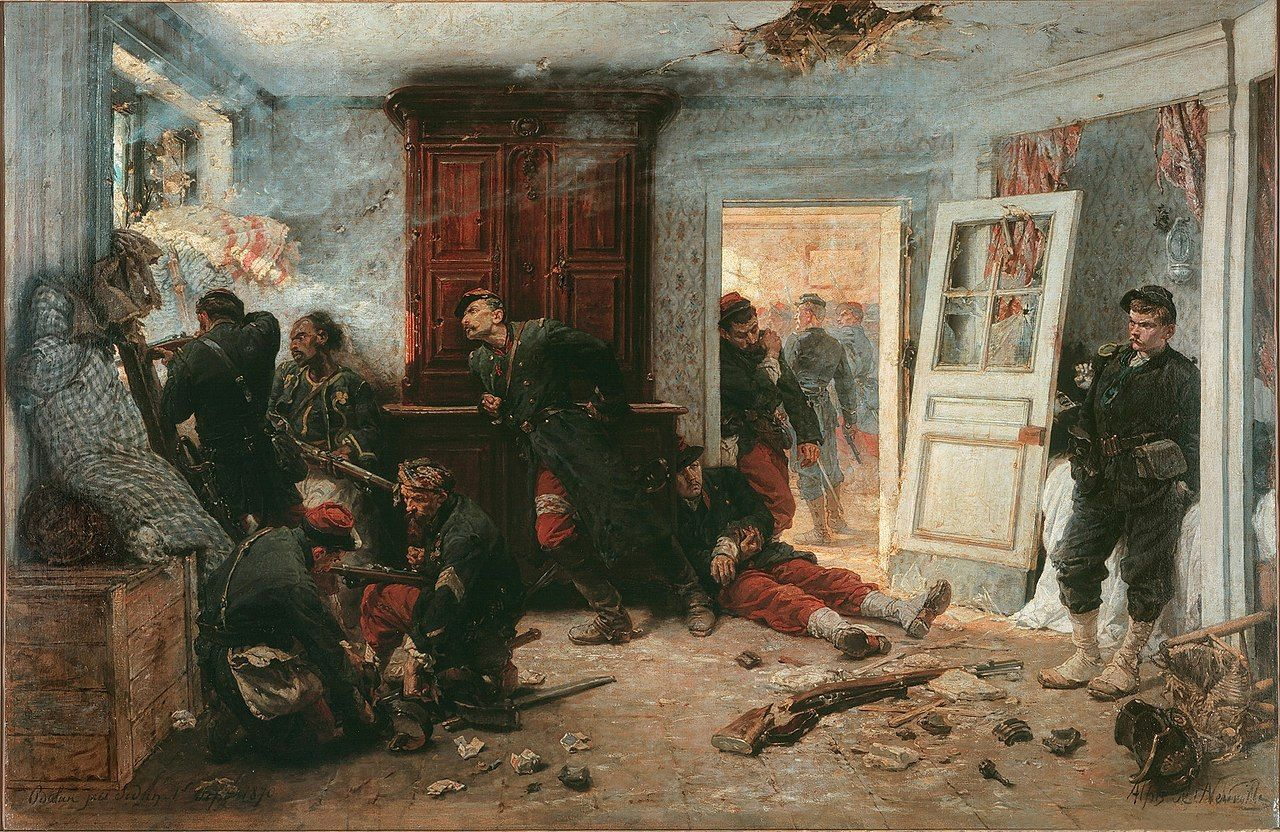 Tableau de de Neuville (1873), Les dernières cartouches, illustrant un épisode de la bataille de Bazeilles.