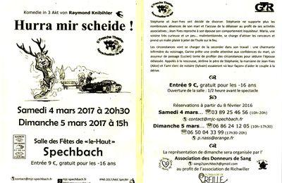 Théâtre Alsacien samedi 4 et dimanche 5 mars 2017