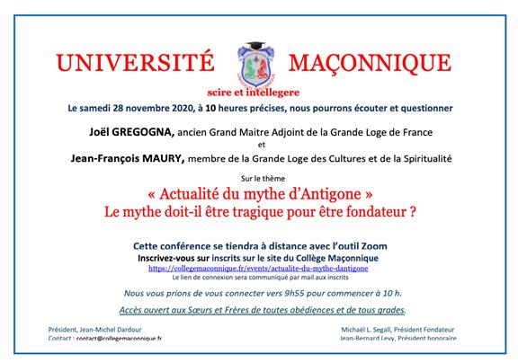 UM : Actualité du Mythe d'Antigone par Joël Gregogna et Jean-François Maury le 28 novembre 2020 à 10 heures
