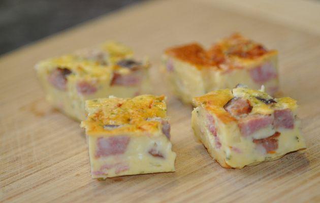 Quiche sans pâte (raclette et saucisse de Montbéliard)