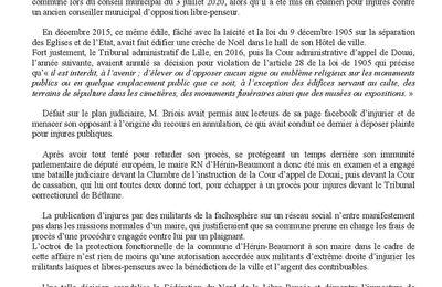 Mis en examen pour avoir publié des injures contre un libre-penseur, le maire d'Hénin-Beaumont se fait payer son procès par la ville !