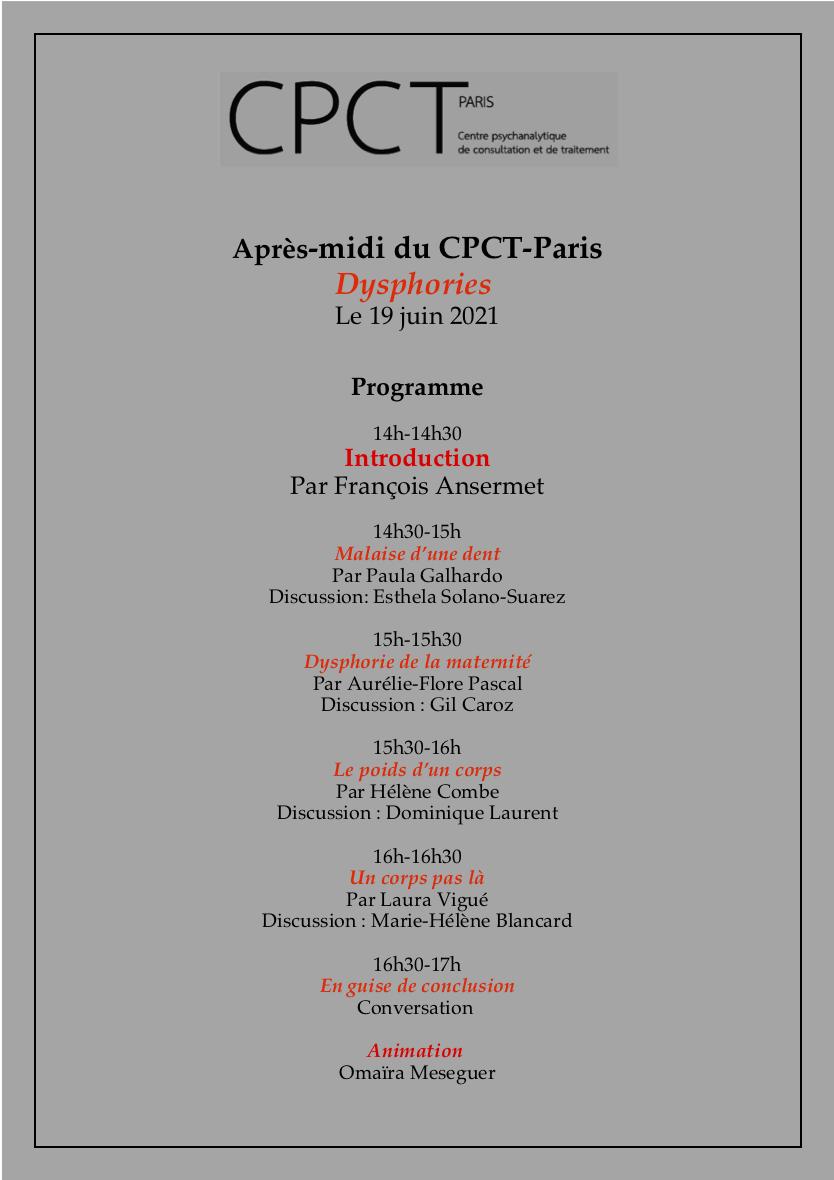 """ECF - CPCT PARIS - Après-midi clinique """"DYSPHORIES"""" 19 juin sur zoom"""