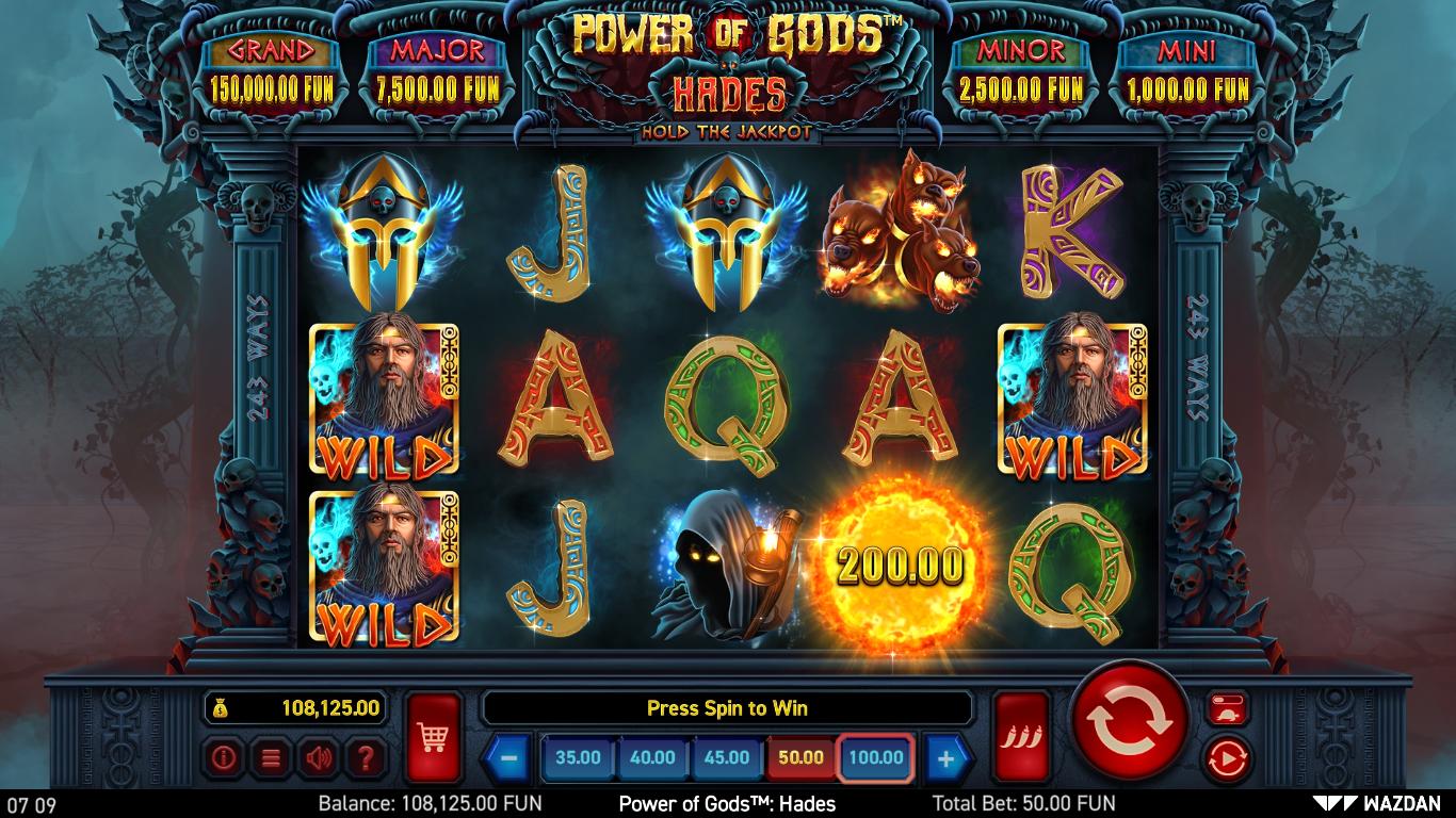 machine à sous en ligne Power of Gods: Hades grille de jeu