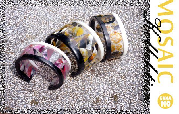 Resin-Armreifen mit eingebetteten Mosaik-Mustern