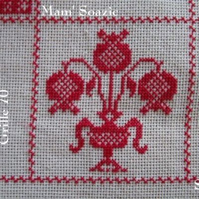 SAL : Plaid Broderie Rouge... Grille  70 / I 13