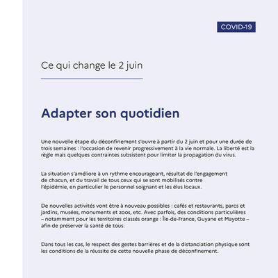COVID 19 - Ce qui change le 02 juin