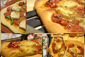 Pizza sauce tomates cerises et fromage de chèvre