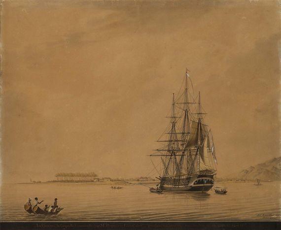 La corvette La Coquille, à bord laquelle Lesson fit le tour du monde de 1822 à 1825. Dessin par Antoine Roux.