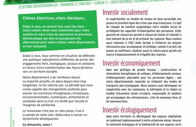 Colombes 2, la Garenne et Bois Colombes : pour un département écologique et solidaire le 27 juin 2021