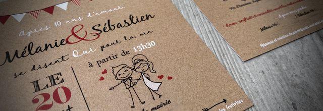 Le faire part de mariage thème guinguette campagnarde de Mélanie & Sébastien ...
