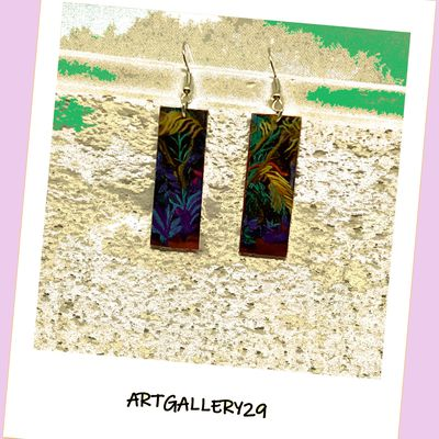 Boucles d'oreilles percées tropicales rectangle coloré, forêt tropicale en impression, bijou d'art