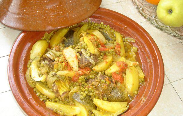 Tagine de veau avec petites courgettes rondes et pommes de terre