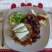 Délice de Porc au caramel et brochettes de figues au jambon de pays - Chez Mamigoz
