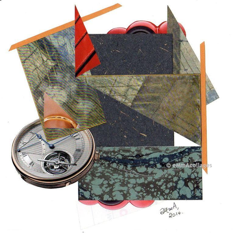 Les Collages d'eMmA MessanA, collages de la série Le Temps, pièces uniques