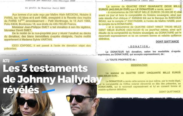 Les 3 testaments de Johnny Hallyday révélés #documents