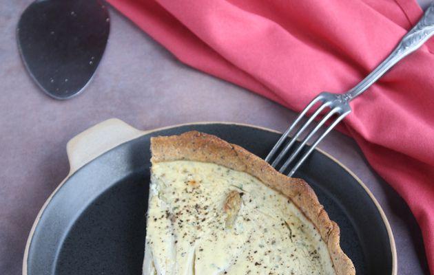 Tarte (ou quiche?) tartiquiche...aux asperges blanches avec les têtes dessus et les pieds dans leur crème de ricotta