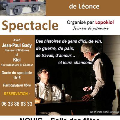 Spectacle Tonneau de Léonce 19 septembre à 17H30 Salle des fêtes Nouic